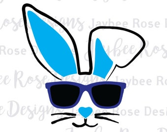 Easter Bunny Cool Hip Sunglasses Face Svg / PNG cut file for Easter Basket, Bucket, Silhouette Cut Files, Cricut Cut Files, Svg Files