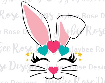Easter Bunny Face with hearts Ears and Eyelashes Svg / PNG cut file for Easter Basket, Bucket, Silhouette, Cricut Cut Files, Svg Files