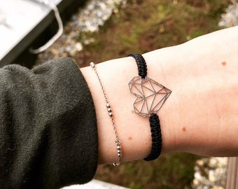 Origami-Heart Bracelet (Silver)