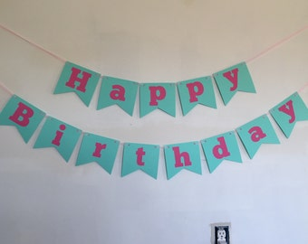 Pink and Teal Birthday Banner 6ft