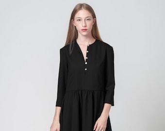 Black Dress, Evening Dress, Cocktail Dress, Day Dress, Long Sleeve Dress, Tunic Dress, Casual Dress, Oversized Dress, Black Midi Dress
