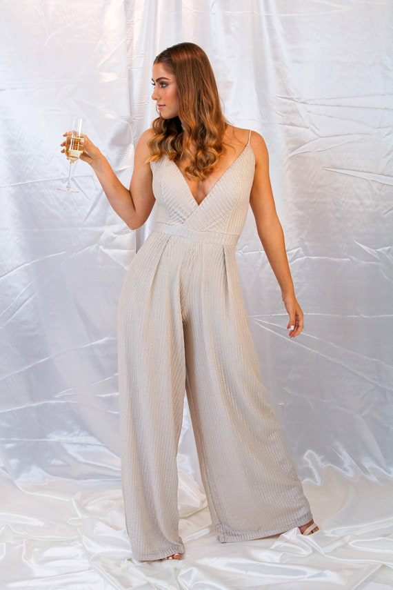 Womens Jumpsuit Womens Romper Womens Overall Wide Pants Etsy