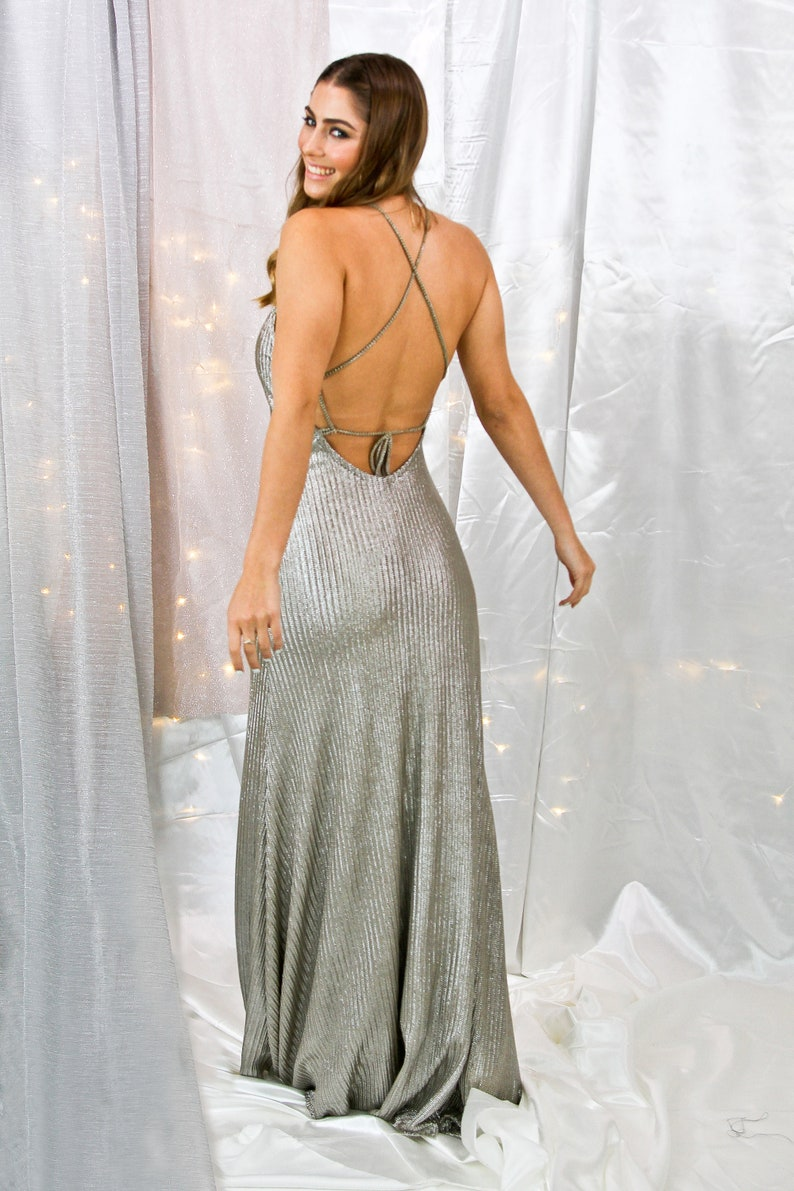 a5163d23f8d Silver Prom Dress Bridesmaid Dress Maxi Dress Long Dress