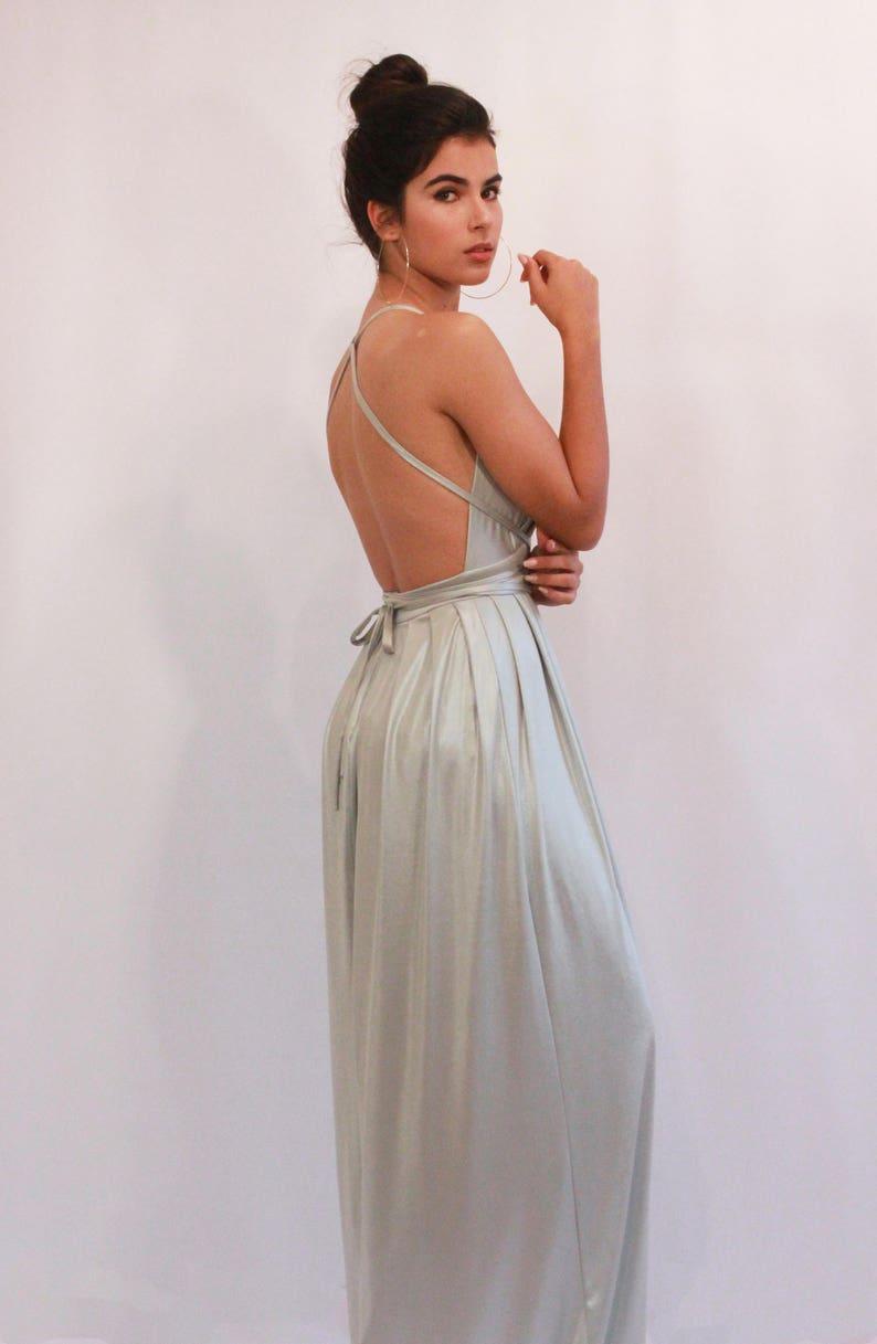 1e046e6039586 Bridesmaid Dress Silver Prom Dress Maxi Dress Long Dress   Etsy