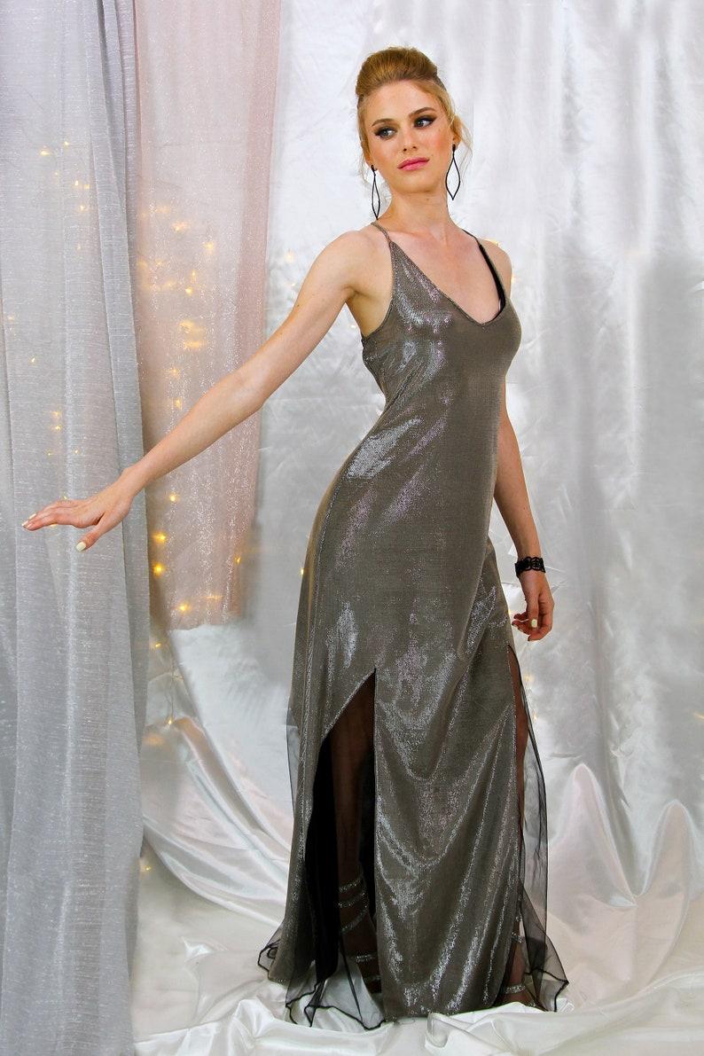 ab67dc626ec Bridesmaid Dress Silver Prom Dress Maxi Dress Long Dress