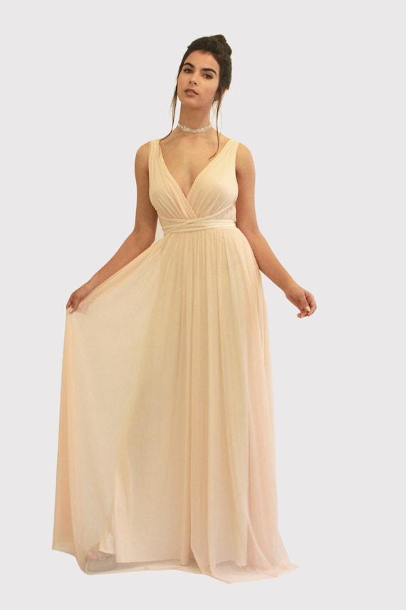 Blush Bridesmaid Dress Blush Prom Dress Maxi Dress Blush Etsy