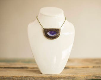 Agate and Recycled Leather Necklace