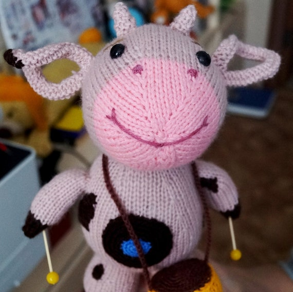 Knitted Toy Cow For Children Soft Animal Cow With Drums Nice Etsy