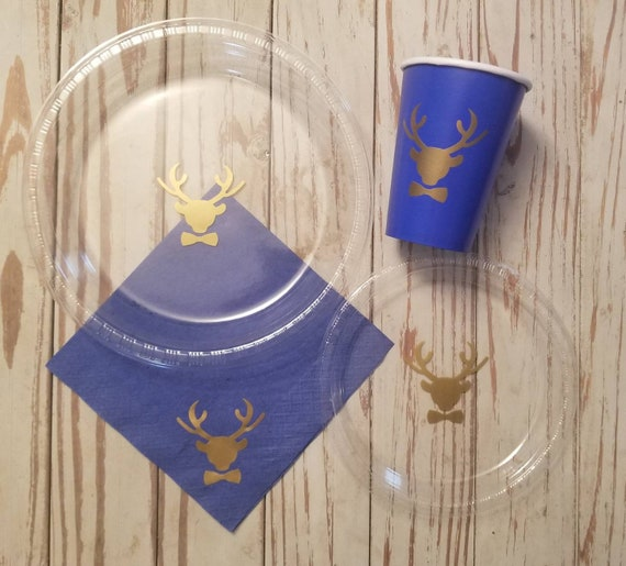 Buck or deer baby shower plates, cups and napkins, deer birthday, gender reveal party, boy baby shower plates, wedding shower plates, buck