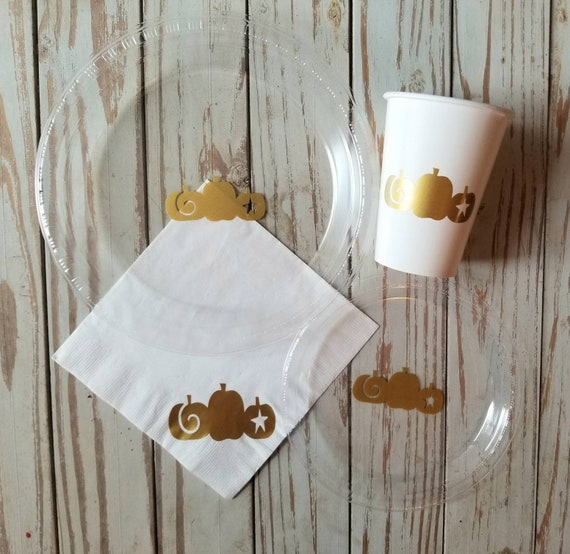 Pumpkin plates, cups and napkins, fall baby shower, fall birthday, pumpkin baby shower, pumpkin birthday, fall birthday