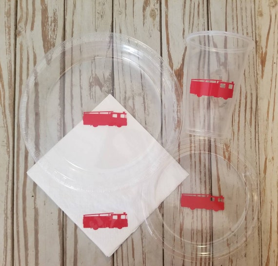 Fire truck plates, cups, napkins,  fire truck birthday party, emergency responders birthday party, rescue vehicles party, fire truck shower