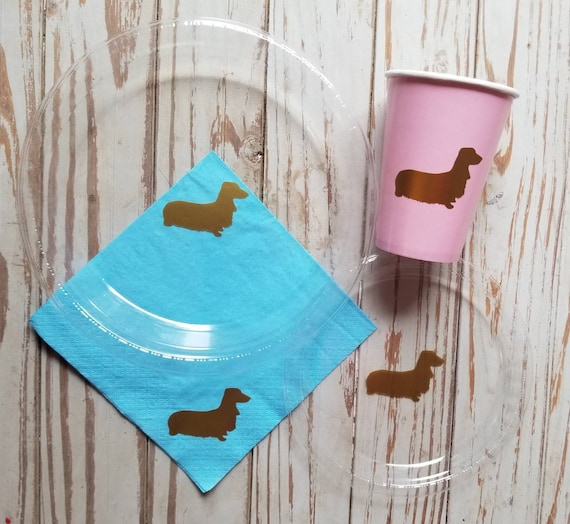 Dog party plates, cups and napkins, dog pawty, dog birthday plates, cups, wiener dog party, first birthday, dog birthday party, weenie dog