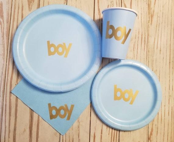 Boy baby shower plates, boy baby shower plates, boy baby shower napkins, boy baby shower supplies, baby sprinkle, team boy, it's a boy, boy
