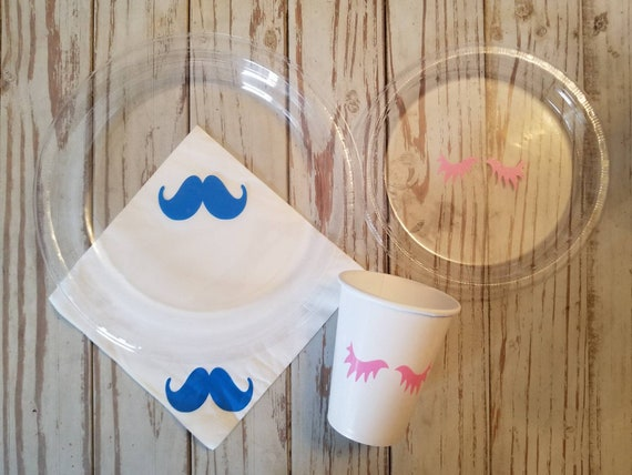 Lashes or stashes gender reveal plates, cups, napkins, lashes or stashes party supplies, baby shower, gender reveal plates, cup, napkins,
