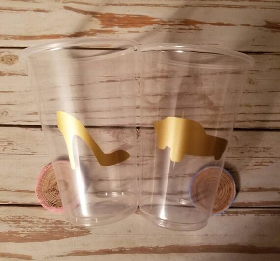 Heels or wheels gender reveal 16 ounce plastic cups, heels or wheels gender reveal party, baby shower cups, gender reveal favor cups, favors