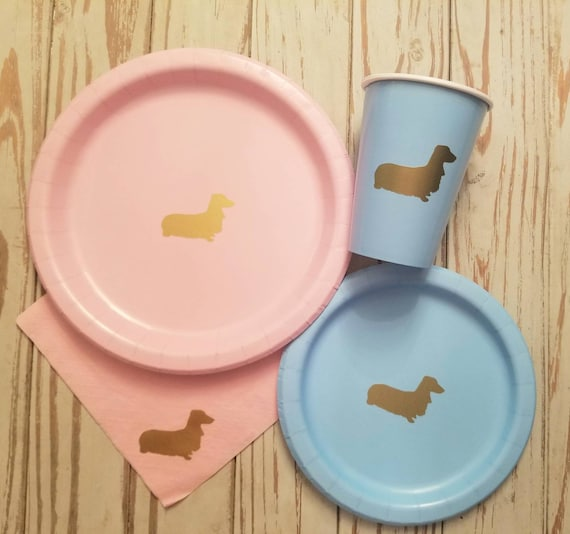 Dog party plates, cups and napkins, dog birthday party, dog party, dog gender reveal, puppy party, dog pawty, birthday party,