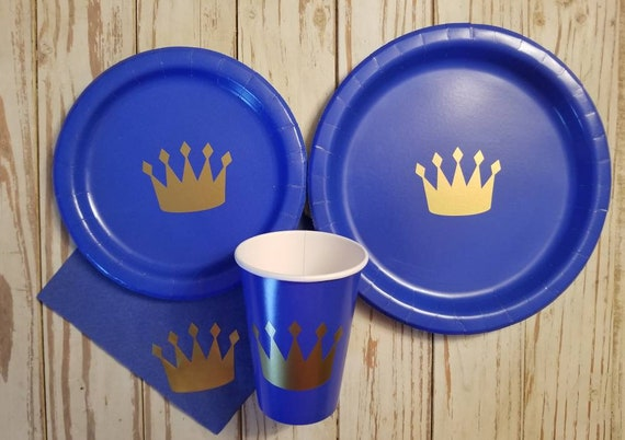 Royal prince blue and gold party plates, cups and napkins, first birthday party, prince baby shower, crown prince party, royal baby shower