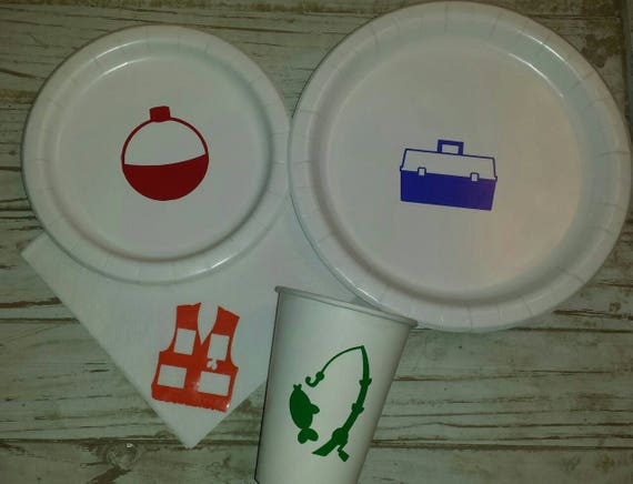 Fishing plates, cups and napkins,  fishing birthday plates, fishing party, fishing first birthday, fishing cups, fishing napkins, fish party