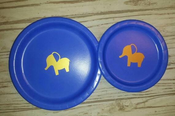 Elephant baby shower plates, cups, napkins, elephant baby shower, elephant birthday cups, plates, napkins, boy baby shower, gender reveal,