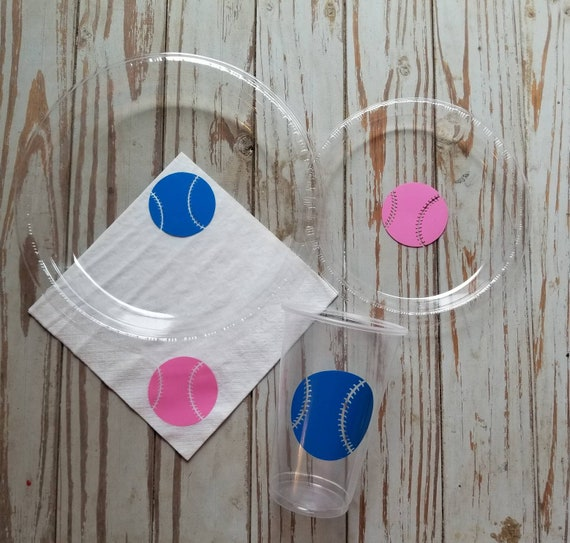 Baseball or softball gender reveal plates, cups and napkins, gender reveal party, baseball party, softball party, sports birthday, shower