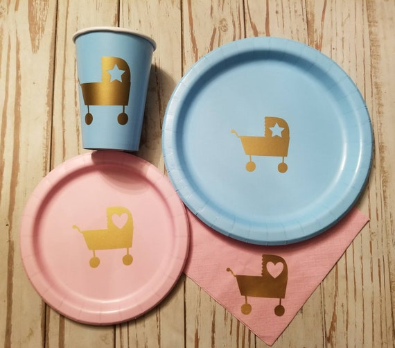 Baby carriage, stroller baby shower plates, cups, napkins, gender reveal plates, cups and napkins, boy baby shower, girl baby shower