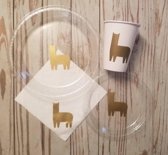 Llama or alpaca plates, cups and napkins, llama party decorations, llama tableware, llama party, alpaca baby shower,  llama baby shower