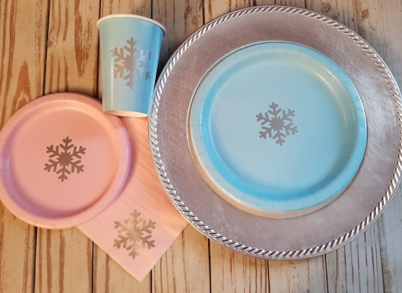 Pink and silver snowflake plates, cups and napkins, blue and silver snowflake cups, winter wonderland party and baby shower, first birthday