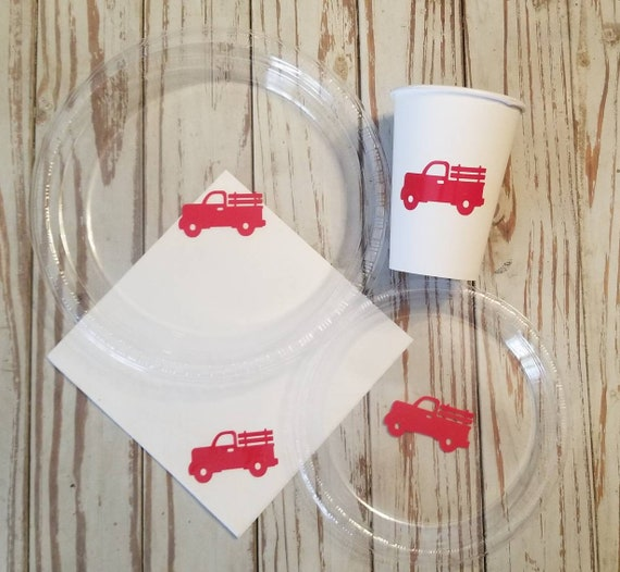 Red truck plates, cups and napkins, Christmas red truck plates, cups, napkins, Vintage truck plates, classic truck plates, cups, shower