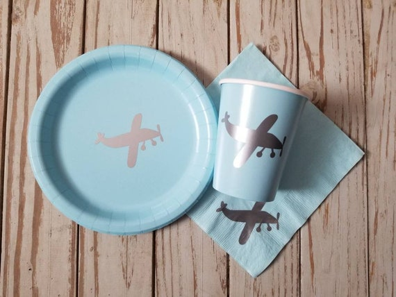 Airplane plates, cups and napkins, airplane first birthday,  airplane baby shower, airplane party, aviator party, little pilot, airplane dec