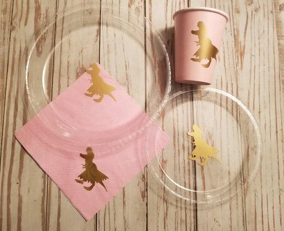 Girls dinosaur plates, cups and napkins, trex with tutu party plates,  cups and napkins, girls dinosaur birthday, trex birthday party, dino