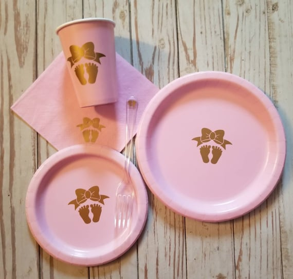 Girl Baby Shower Pink And Gold Plates Cups And Napkins Etsy