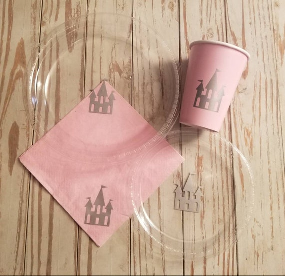 Princess party plates, cups and napkins, princess birthday party, princess baby shower, castle cups, castle napkins, castle plates, royal