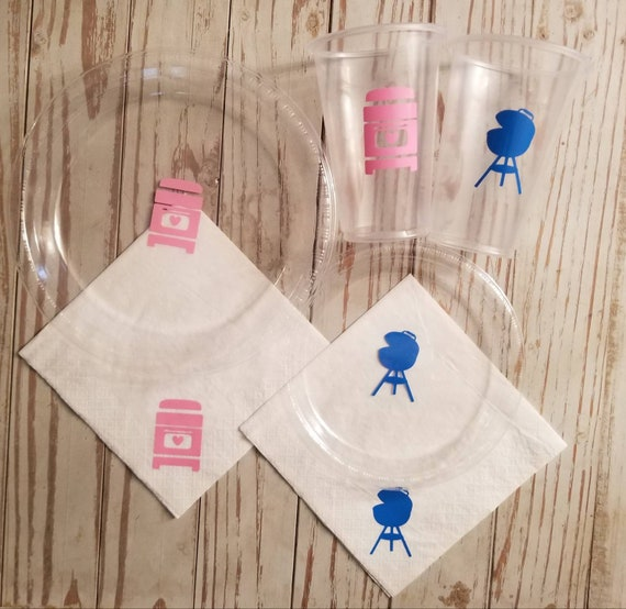 Baby Q gender reveal plates, cups and napkins, baby q shower, baby q party decor, baby bbq, gender reveal party, pink or blue gender reveal