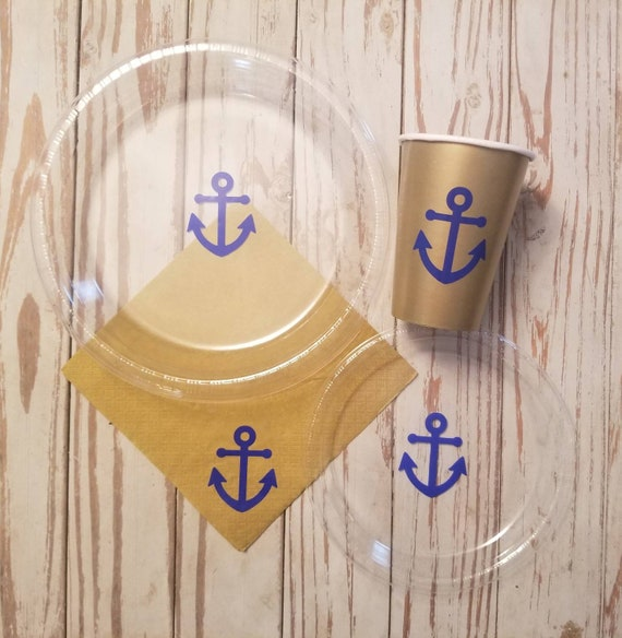 Anchor plates, cups and napkins, nautical baby shower, nautical bridal shower, nautical baby shower, blue and gold, pirate party, nautical
