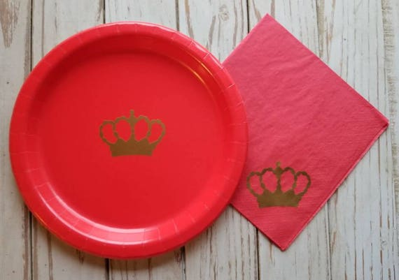 Red and gold royal crown baby shower, red and gold crown birthday, red prince or princess baby shower, royal baby shower, red and gold crown
