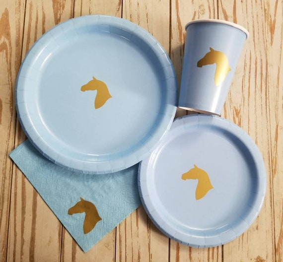 Blue and gold horse plates, cups and napkins, horse party, horse birthday, horse baby shower, cowboy baby shower, cowboy party, cowboy