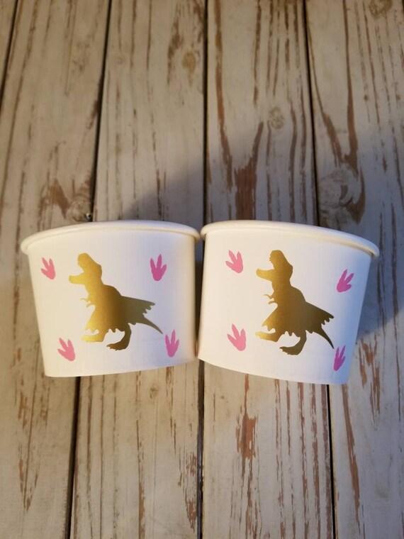 Girl dinosaur treat cups, girl dinosaur ice cream cups, girl trex treat cups, girl dinosaur snack cups, girl dinosaur party favor cups, trex