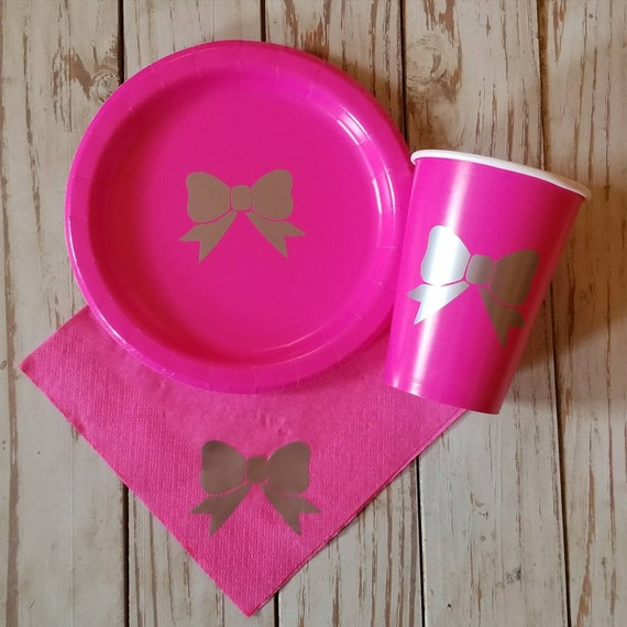 pink and silver bow plates cups napkins first birthday plates cups
