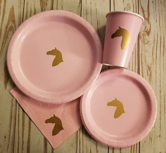 Horse plates, cups and napkins, horse party, horse birthday party, cowgirl party, cowgirl birthday, horse baby shower, cowgirl baby shower