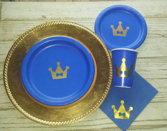 Royal prince blue and gold crown plates, cups, napkins, prince baby shower plates, cups, royal shower plates, royal first birthday plates,