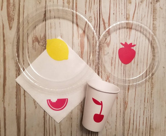Fruit party plates, cups and napkins, lemon cups, cherry cups, watermelon cups, strawberry cups, fruit birthday party, berry one, fruit