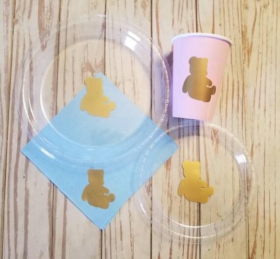 Teddy bear plates, cups and napkins, teddy bear baby shower, teddy bear gender reveal, teddy bear first birthday party, bear party, bear cup
