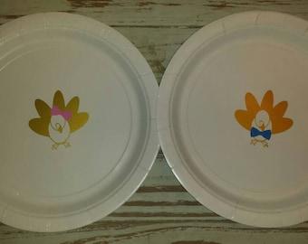 Little turkey gender reveal plates, cups and napkins, first Thanksgiving, lil turkey gender reveal, thanksgiving plates,  cups and napkins
