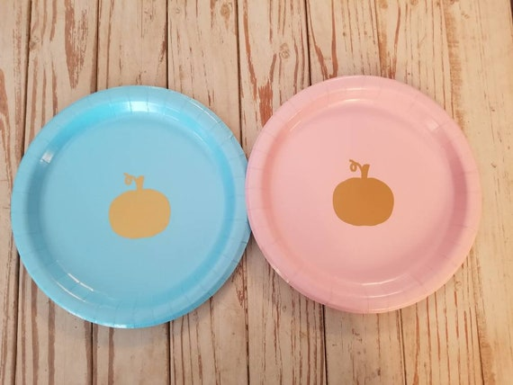 Pumpkin gender reveal plates, cups and napkins, pumpkin baby shower plates, cups, fall first birthday, pumpkin birthday, pumpkin reveal, 1st