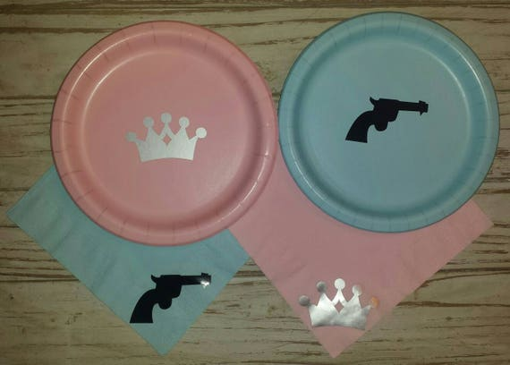 Guns or glitter gender reveal plates, cups, napkins, gender reveal party, guns or glitter baby shower, rifles or ruffles, pistols or pearls