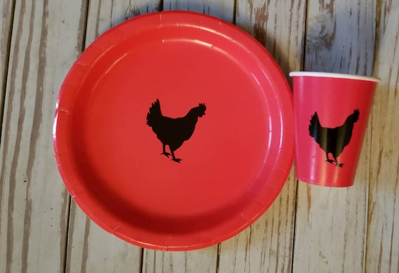 Farm party plates, cups, napkins,  farm baby shower, farm birthday party, barnyard birthday, barnyard party, chicken plates, hen party
