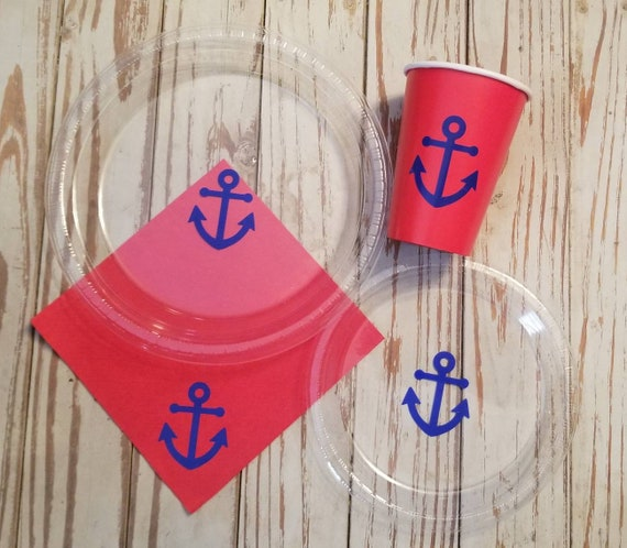 Anchor red and blue plates, cups and napkins, nautical plates, cups and napkins, nautical baby shower, anchor baby shower, sailor party