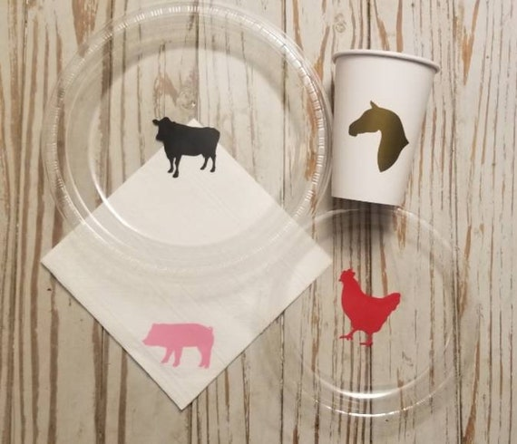 Farm party plates, cups and napkins, farm first birthday party, pig plates, chicken plates, horse party, farm baby shower, cow first  bday