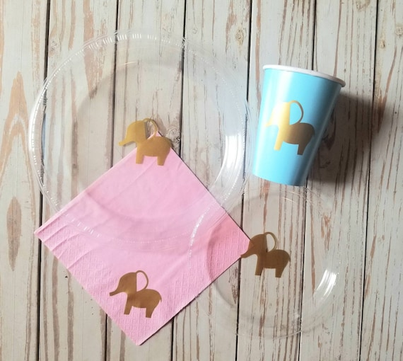 Elephant baby shower plates, cups and napkins, elephant first birthday, boy baby shower, girl baby shower, safari baby shower or birthday