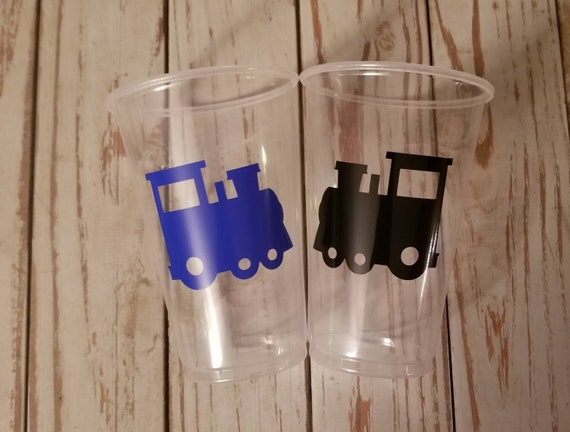 Train party cups, train birthday party, train baby shower, first birthday party, choo choo cups, boy baby shower cups, first birthday cups